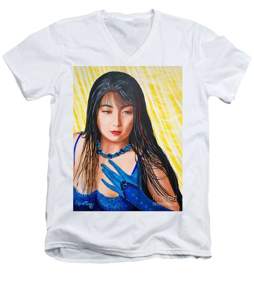 Crystal Blue China Girl            From   The Attitude Girls  Men's V-Neck T-Shirt