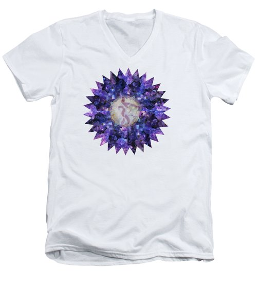 Men's V-Neck T-Shirt featuring the mixed media Crystal Magic Mandala by Leanne Seymour