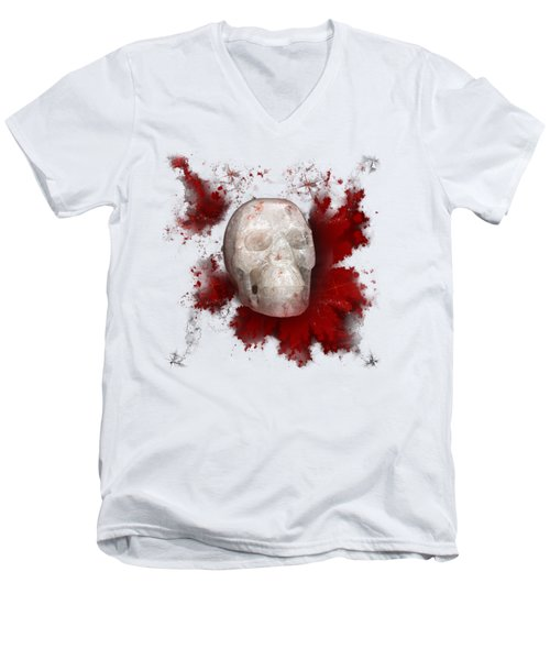 Crystal Skull With Red On Transparent Background Men's V-Neck T-Shirt by Terri Waters