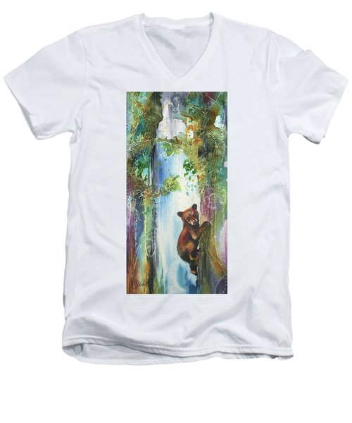 Men's V-Neck T-Shirt featuring the painting Cub Bear Climbing by Christy Freeman