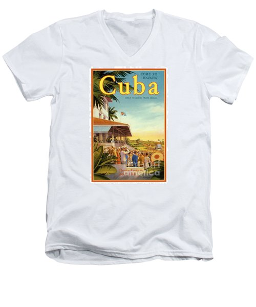 Cuba-come To Havana Men's V-Neck T-Shirt by Nostalgic Prints