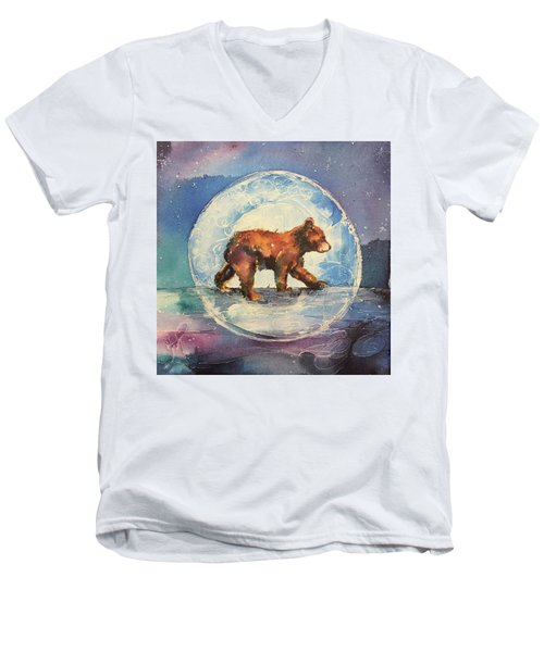 Men's V-Neck T-Shirt featuring the painting Cubbie Bear by Christy Freeman