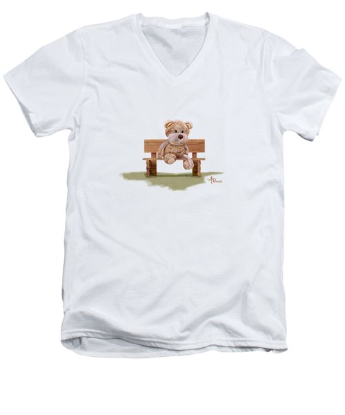 Cuddly At The Park Men's V-Neck T-Shirt