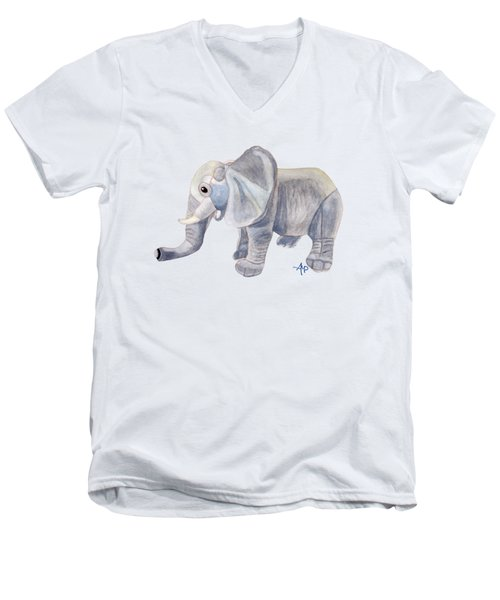 Cuddly Elephant II Men's V-Neck T-Shirt by Angeles M Pomata