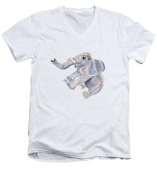 Cuddly Elephant IIi Men's V-Neck T-Shirt by Angeles M Pomata
