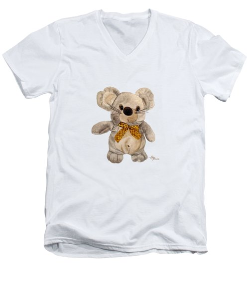 Cuddly Mouse Men's V-Neck T-Shirt by Angeles M Pomata