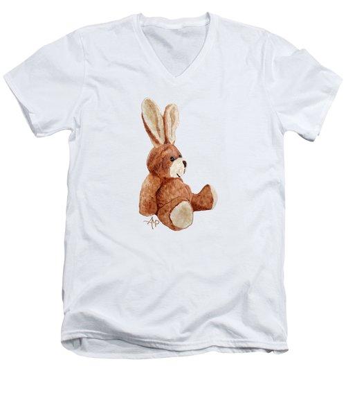 Cuddly Rabbit Men's V-Neck T-Shirt by Angeles M Pomata
