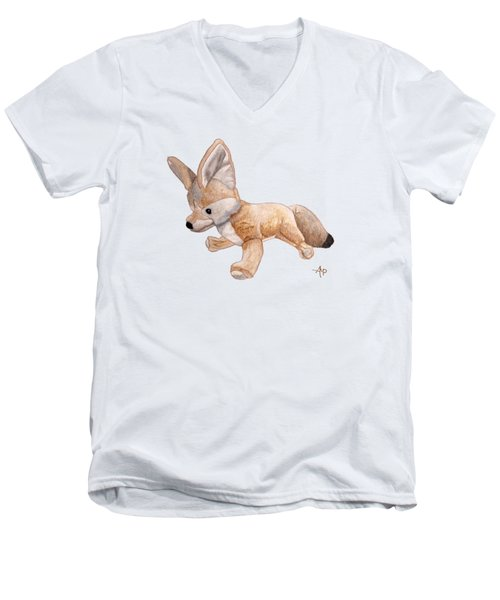 Cuddly Snow Fox Men's V-Neck T-Shirt