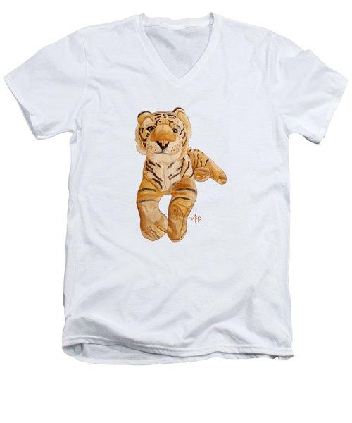 Cuddly Tiger Men's V-Neck T-Shirt by Angeles M Pomata