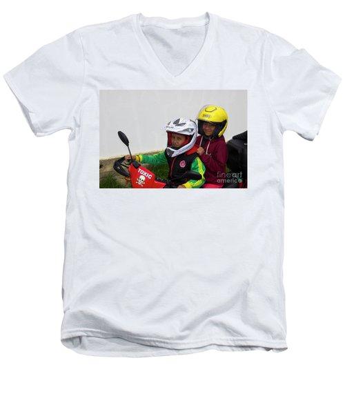 Men's V-Neck T-Shirt featuring the photograph Cuenca Kids 889 by Al Bourassa