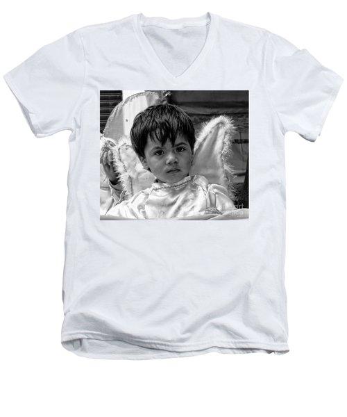 Men's V-Neck T-Shirt featuring the photograph Cuenca Kids 893 by Al Bourassa