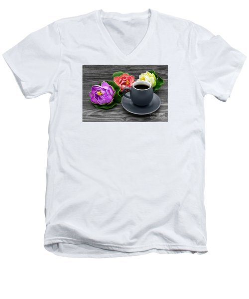 Cup Of Coffee And Artificial Colored Water Lilies Men's V-Neck T-Shirt