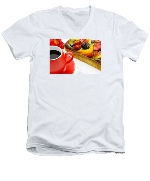 Cup Of Coffee And  Fruit Cake Men's V-Neck T-Shirt