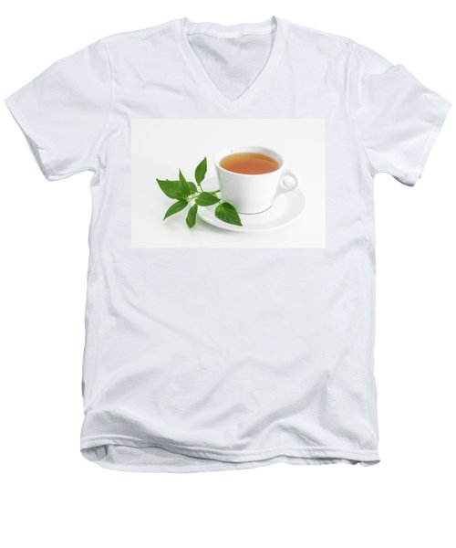 Cup Of Tea With Fresh Mint Men's V-Neck T-Shirt