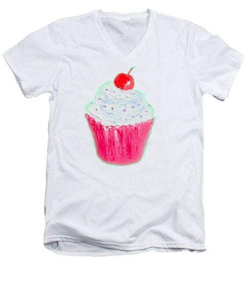 Cupcake Painting Men's V-Neck T-Shirt by Jan Matson