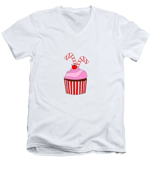 Cupcakes And Candy Canes - Christmas Men's V-Neck T-Shirt