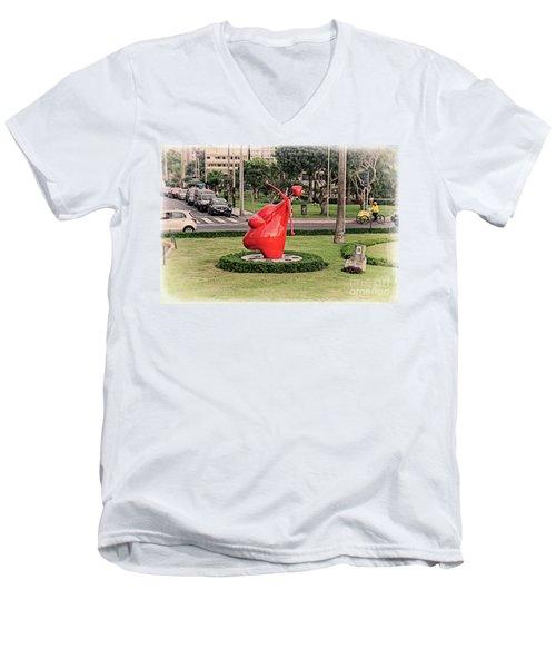 Men's V-Neck T-Shirt featuring the photograph Cupid's Heart  by Mary Machare