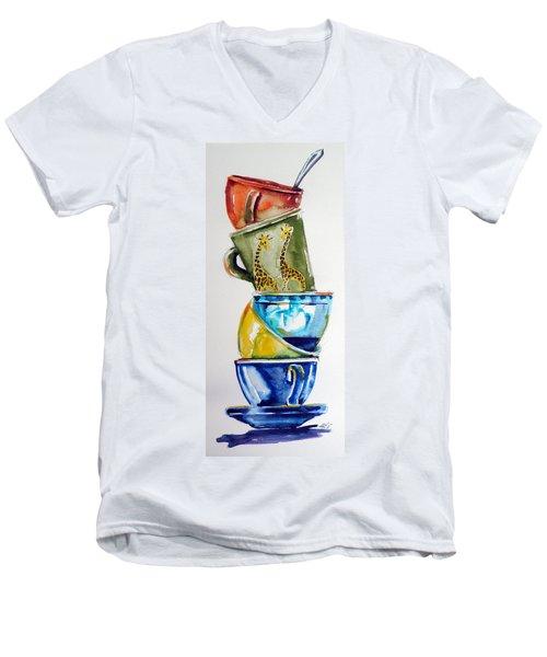 Cups Men's V-Neck T-Shirt by Kovacs Anna Brigitta