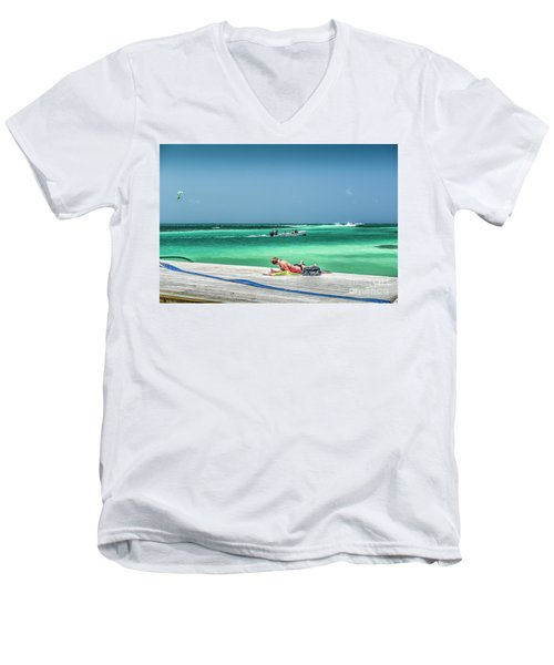 Curious Bikini Clad  Sunbather Men's V-Neck T-Shirt