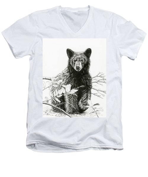 Curious Young Bear Men's V-Neck T-Shirt