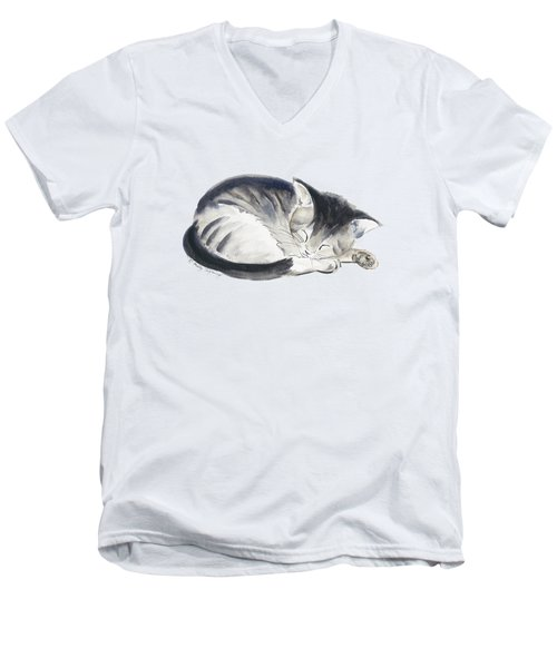 Curl Up Men's V-Neck T-Shirt by Melly Terpening