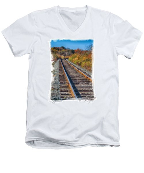 Men's V-Neck T-Shirt featuring the photograph Curved Track by Constantine Gregory