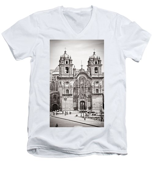 Cusco Cathedral Men's V-Neck T-Shirt by Darcy Michaelchuk