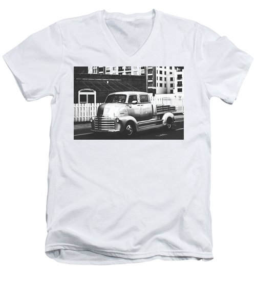 Men's V-Neck T-Shirt featuring the photograph Custom Chevy Asbury Park Nj Black And White by Terry DeLuco