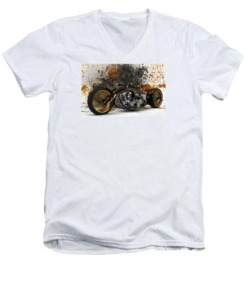 Custom Chopper Gold Men's V-Neck T-Shirt by Louis Ferreira