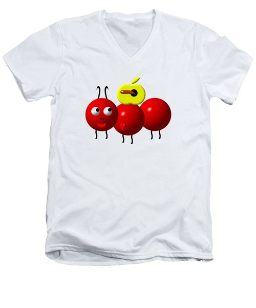 Cute Ant With An Apple Men's V-Neck T-Shirt by Rose Santuci-Sofranko
