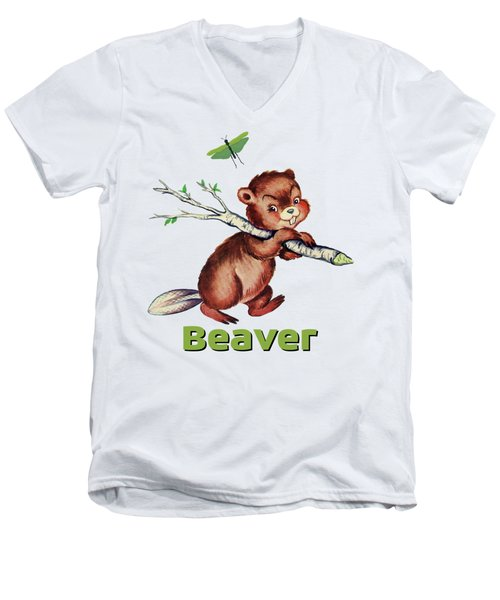 Cute Baby Beaver Pattern Men's V-Neck T-Shirt