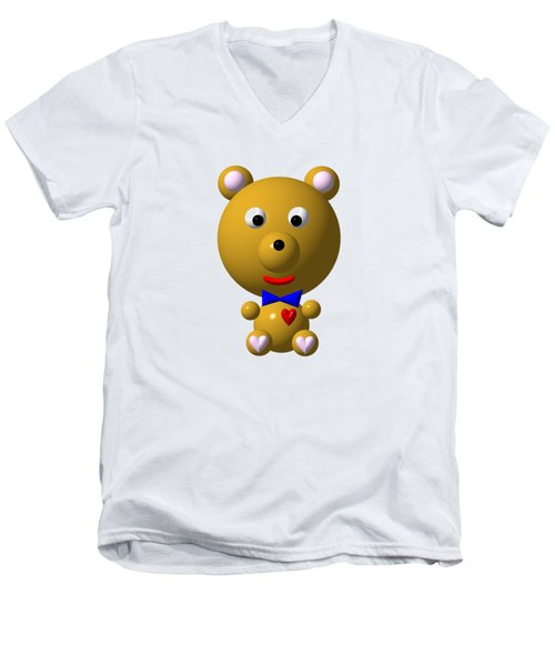 Cute Bear With Bow Tie Men's V-Neck T-Shirt by Rose Santuci-Sofranko