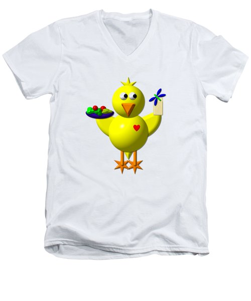 Cute Canary With Salad And Milk Men's V-Neck T-Shirt by Rose Santuci-Sofranko