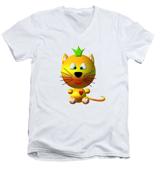 Cute Cat With Crown Men's V-Neck T-Shirt by Rose Santuci-Sofranko