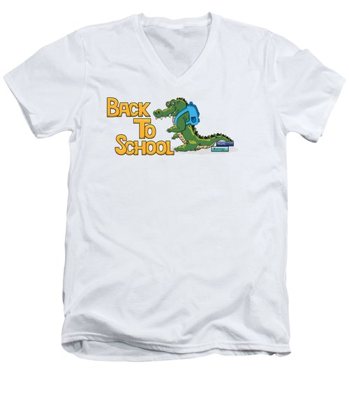 Cute Crocodile With Briefcase Men's V-Neck T-Shirt