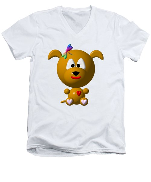Cute Dog With Dragonfly Men's V-Neck T-Shirt by Rose Santuci-Sofranko