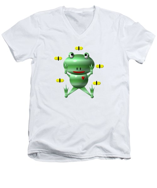 Cute Frog With Flies Men's V-Neck T-Shirt