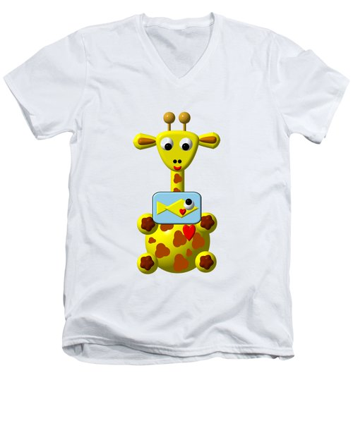 Cute Giraffe With Goldfish Men's V-Neck T-Shirt by Rose Santuci-Sofranko