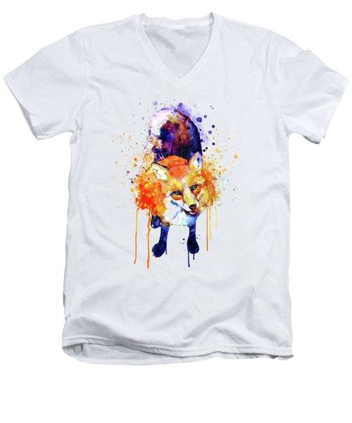 Cute Happy Fox Men's V-Neck T-Shirt