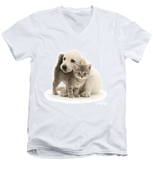 Cute Kitten And Perfect Puppy Men's V-Neck T-Shirt