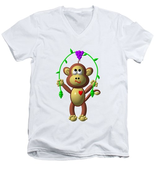 Cute Monkey Jumping Rope Men's V-Neck T-Shirt by Rose Santuci-Sofranko