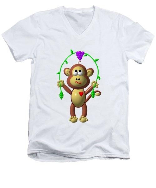 Cute Monkey Jumping Rope Men's V-Neck T-Shirt