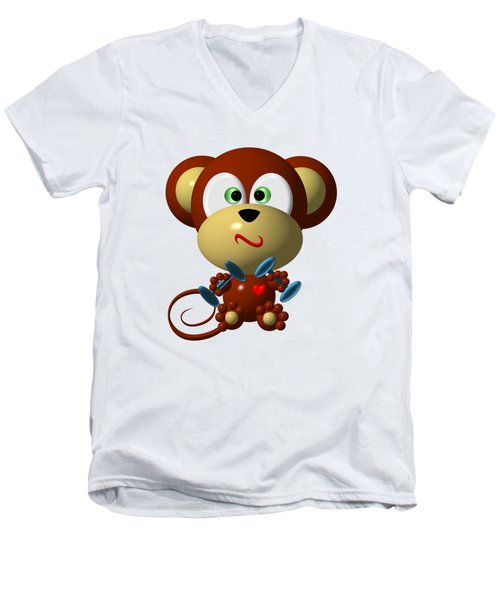Cute Monkey Lifting Weights Men's V-Neck T-Shirt by Rose Santuci-Sofranko