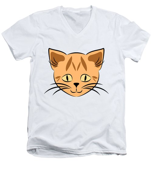 Cute Orange Tabby Cat Face Men's V-Neck T-Shirt