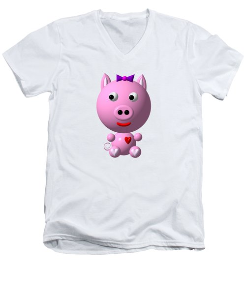 Cute Pink Pig With Purple Bow Men's V-Neck T-Shirt by Rose Santuci-Sofranko