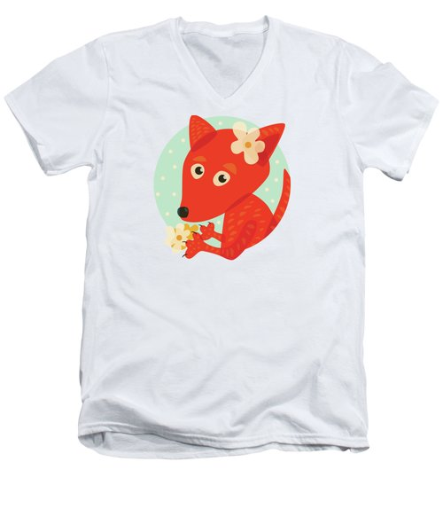 Cute Pretty Fox With Flowers Men's V-Neck T-Shirt