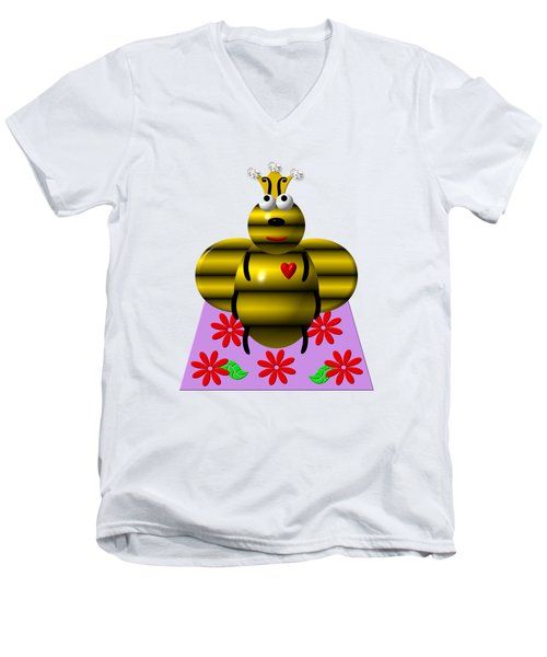Cute Queen Bee On A Quilt Men's V-Neck T-Shirt by Rose Santuci-Sofranko