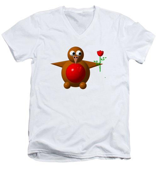 Cute Robin With Rose Men's V-Neck T-Shirt by Rose Santuci-Sofranko