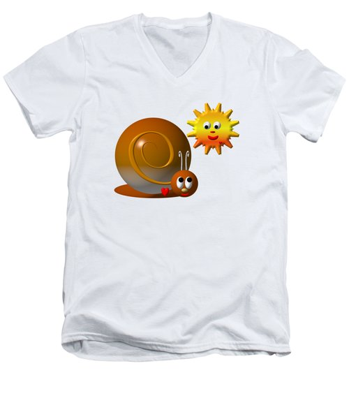 Men's V-Neck T-Shirt featuring the digital art Cute Snail With Smiling Sun by Rose Santuci-Sofranko