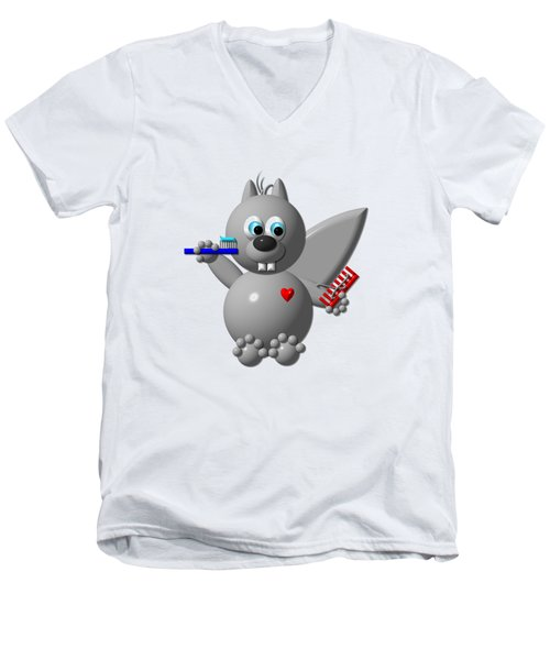 Men's V-Neck T-Shirt featuring the digital art Cute Squirrel Brushing It's Hair And Teeth by Rose Santuci-Sofranko